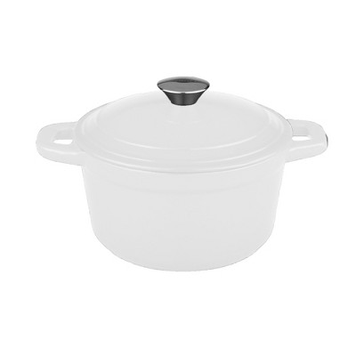 BergHOFF Neo 7 Qt Cast Iron Round Covered Casserole, White