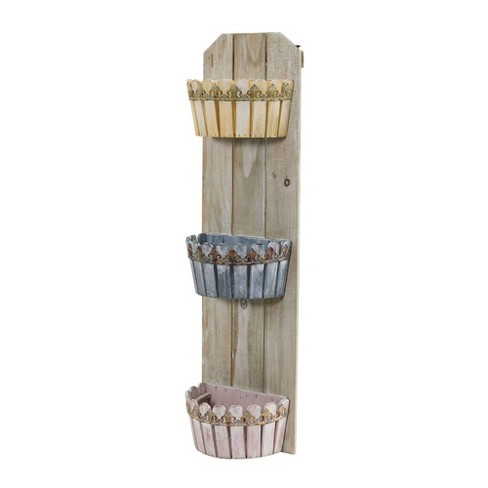 """35"""" x 10"""" Wooden Rectangle Triple Wall Planter - Nearly Natural - image 1 of 4"""