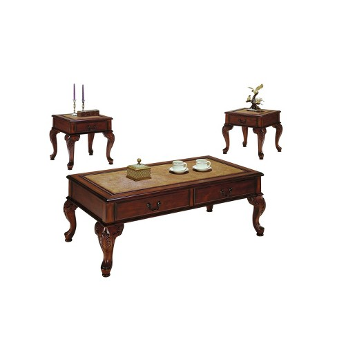 3pc Trudeau Coffee and End Table Set Cherry - Acme - image 1 of 2