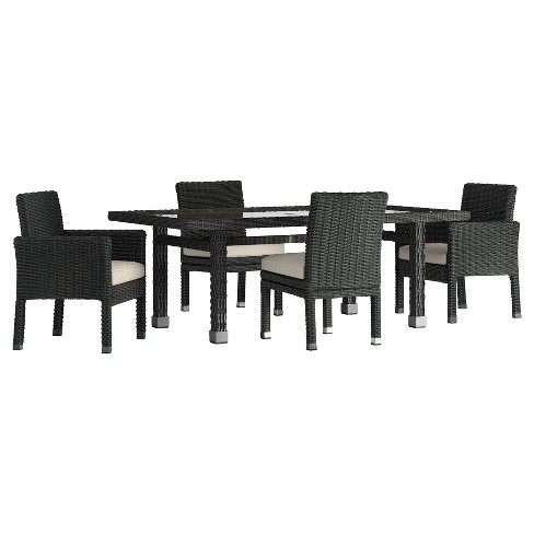 Riviera Pointe 5pc All-Weather Wicker Glass Top Patio Dining Set w/ Cushions - Inspire Q - image 1 of 1