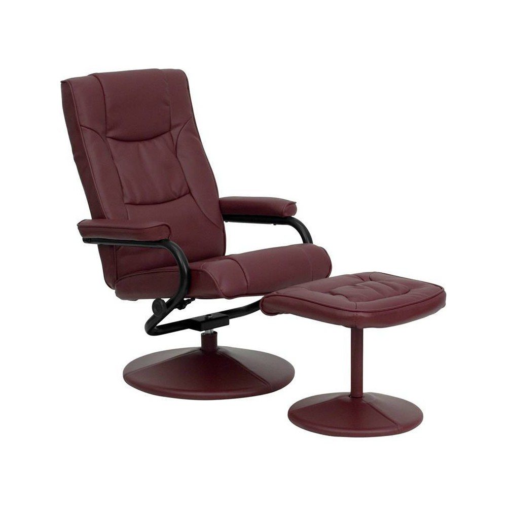 Image of 2pc Contemporary Multi Position Recliner/Ottoman Set Burgundy - Flash Furniture, Red