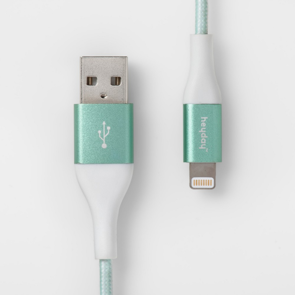 Heyday 8482 Lightning To Usb A Braided Cable 6ft Teal White