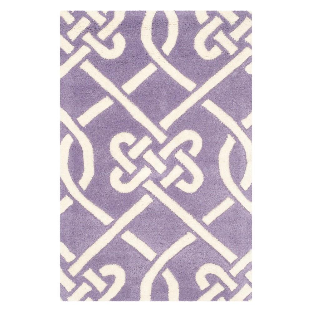 3'X5' Geometric Tufted Accent Rug Purple/Ivory - Safavieh