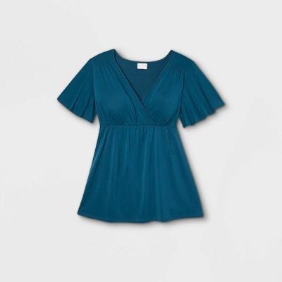 Maternity Flutter Short Sleeve Knit Top - Isabel Maternity by Ingrid & Isabel™ Blue XXL