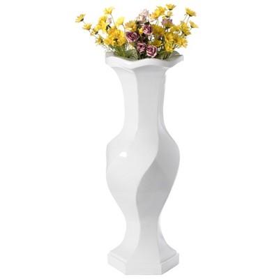 "Uniquewise Large White Twisted Trumpet Modern Fiberglass Freestanding Flower Vase 39.5"""