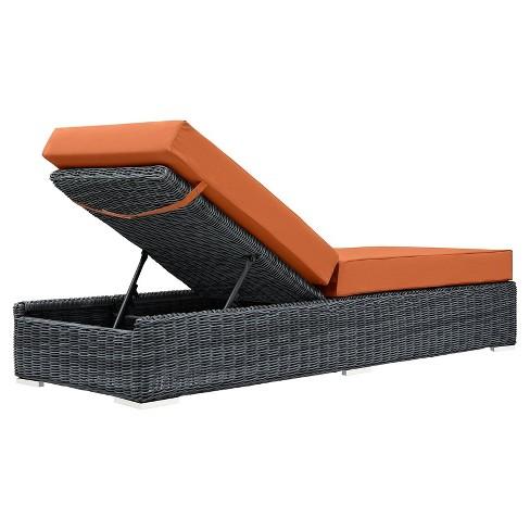 Magnificent Summon Outdoor Patio Sunbrella Chaise Lounge Dark Orange Modway Squirreltailoven Fun Painted Chair Ideas Images Squirreltailovenorg