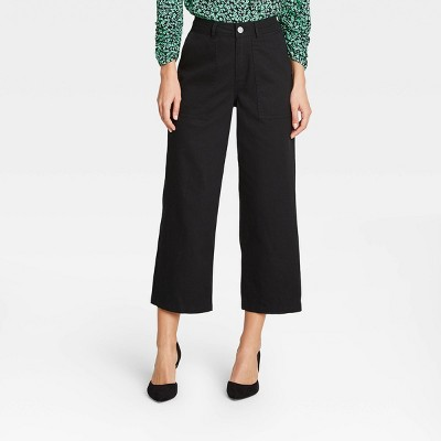 Women's Mid-Rise Regular Fit Wide Leg Pants -Who What Wear™