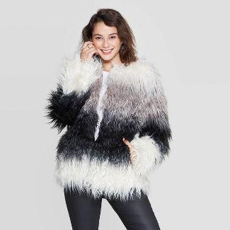 Women's Ombre Long Sleeve Faux Fur Jacket- Xhilaration™ Black/Gray M