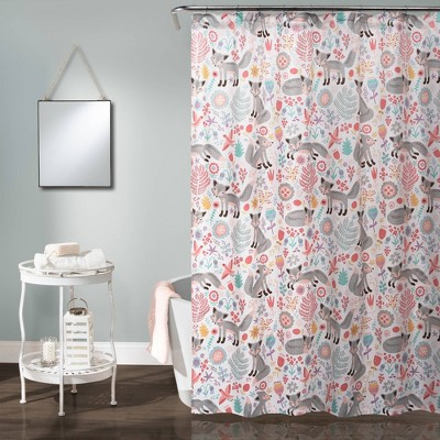 "72""x72"" Pixie Fox Shower Curtain Gray/Pink - Lush Décor"