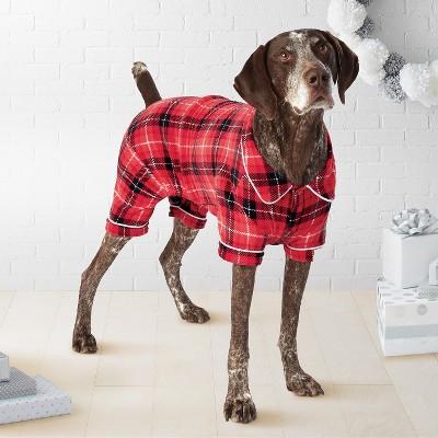 Pet Plaid Holiday Notch Collar Pajamas - Red - L - Wondershop™