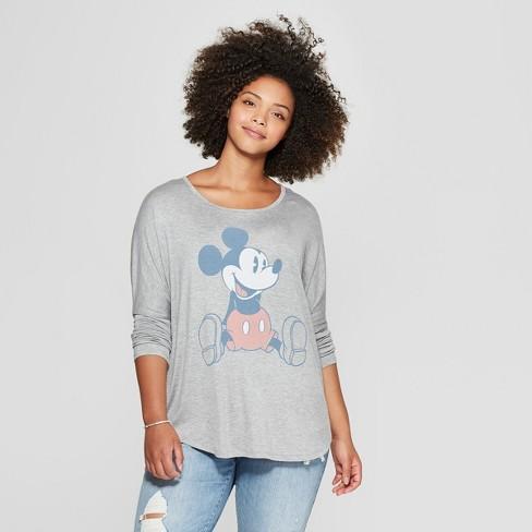04170b48 Women's Disney Plus Size Long Sleeve Mickey Mouse Graphic T-Shirt  (Juniors') Heather Gray
