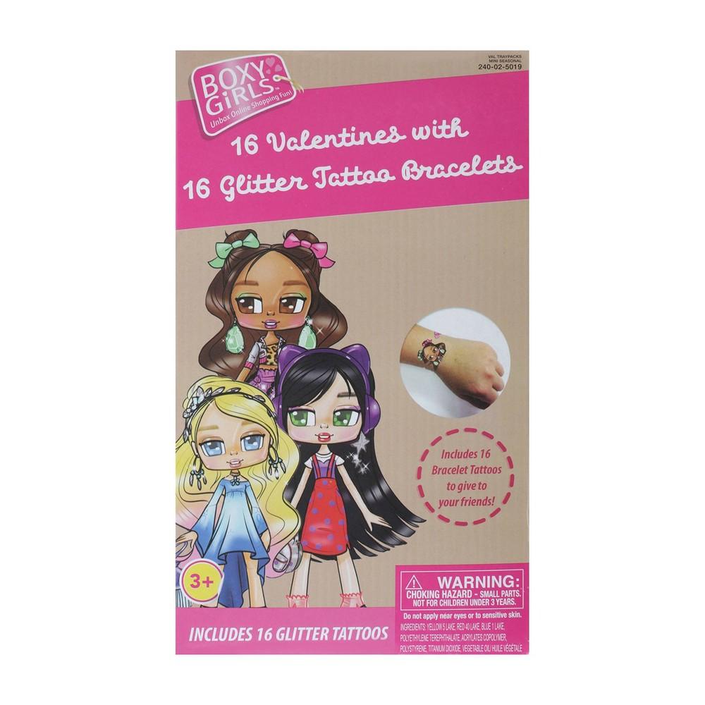 Image of Boxy Girls 16ct Valentines With Glitter Tattoo Bracelet