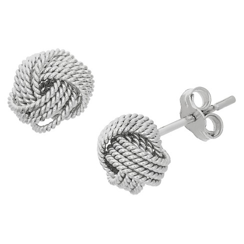 1112504f5 Roped Love Knot Stud Earrings In Sterling Silver : Target