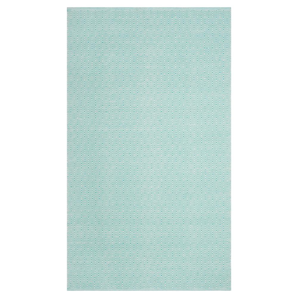 Ivory/Aqua (Ivory/Blue) Stripe Flatweave Woven Area Rug - (5'X8') - Safavieh