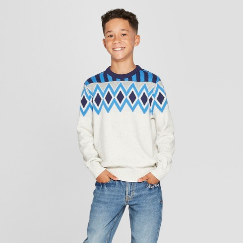 Boys' Long Sleeve Pullover Sweater - Cat & Jack™ Ivory - image 1 of 3