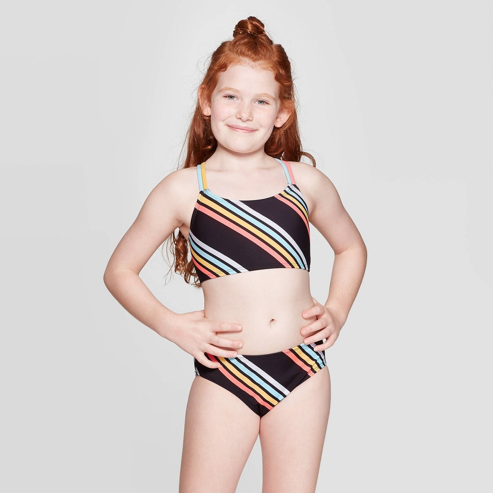 Image of Girls' Beach Side Stripe Bikini Set - art class Black XXL, Girl's