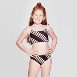 Girls' Beach Side Stripe Bikini Set - art class™ Black
