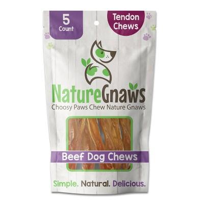 "Nature Gnaws Beef Tendon Chews 4-5"" Beef Jerky Dog Treats - 5ct"