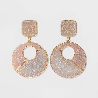 SUGARFIX by BaubleBar Two-Tone Druzy Drop Earrings - Champagne/Light Gray