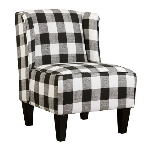 Terrific Charlie Winged Slipper Chair Buffalo Check Plaid Black White Chapter 3 Beatyapartments Chair Design Images Beatyapartmentscom