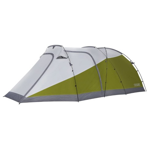 Vuz Moto VUZ-MT Waterproof 12-Foot 3-Person Camping Tent with Integrated Motorcycle Port, 4 Points of Entrance, Green and White - image 1 of 4