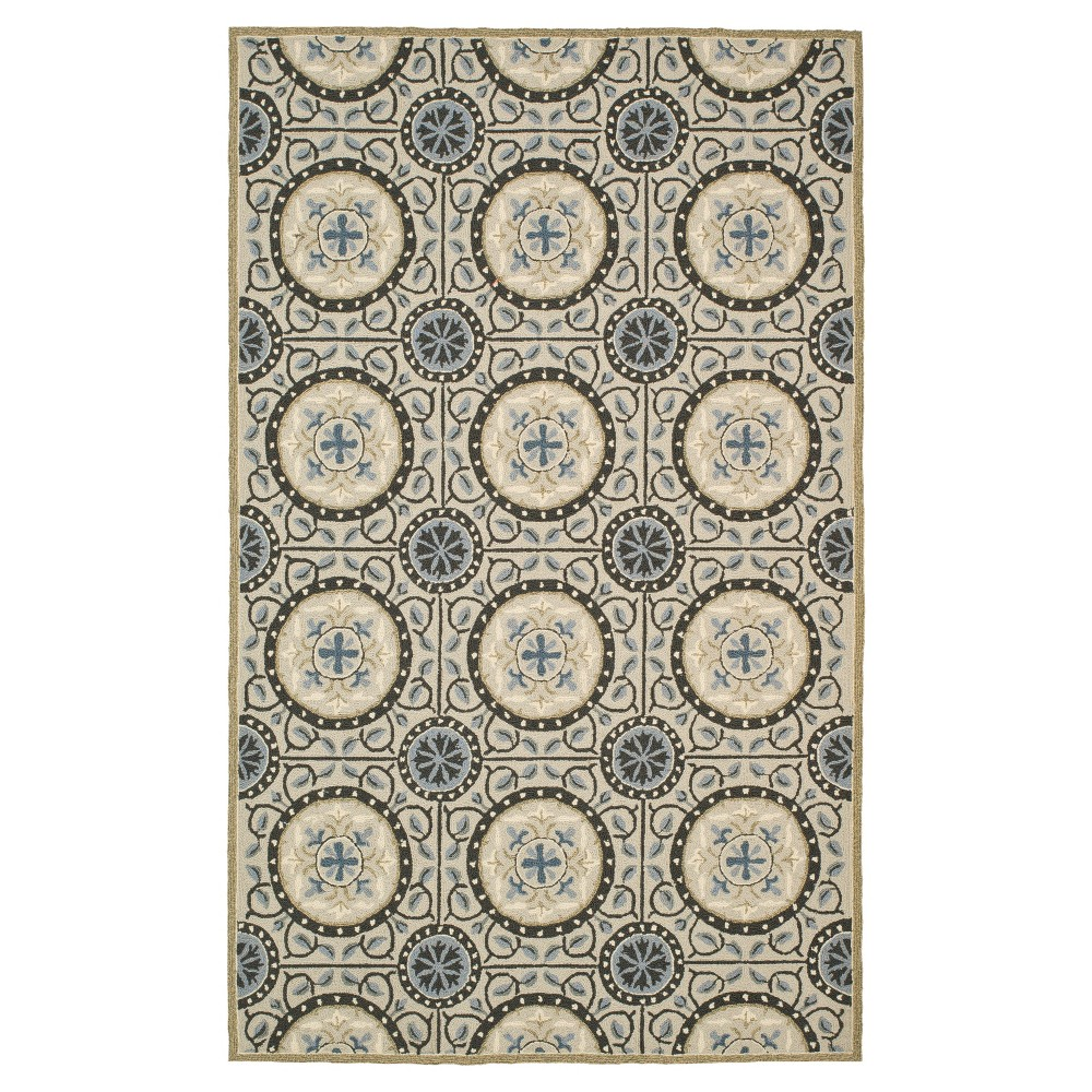 Cement/Blue (Silver/Blue) Shapes Hooked Area Rug 5'X8' - Safavieh