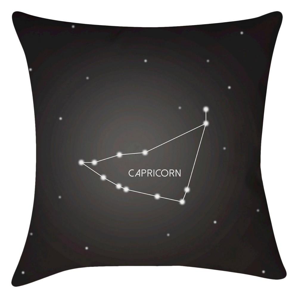 Black Constellation Capricorn Throw Pillow 16