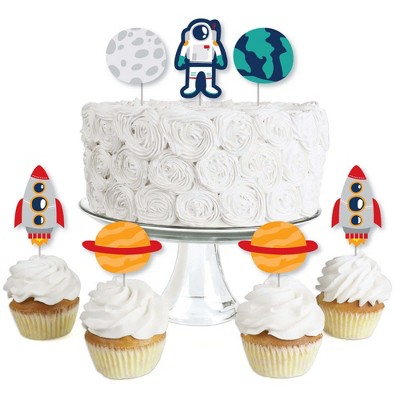 Big Dot of Happiness Blast Off to Outer Space - Dessert Cupcake Toppers - Rocket Ship Baby Shower or Birthday Party Clear Treat Picks - Set of 24