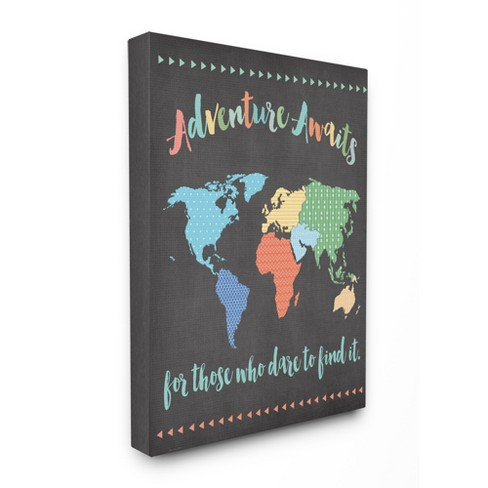 Adventure Awaits World Map Oversized Stretched Canvas Wall Art  (30\