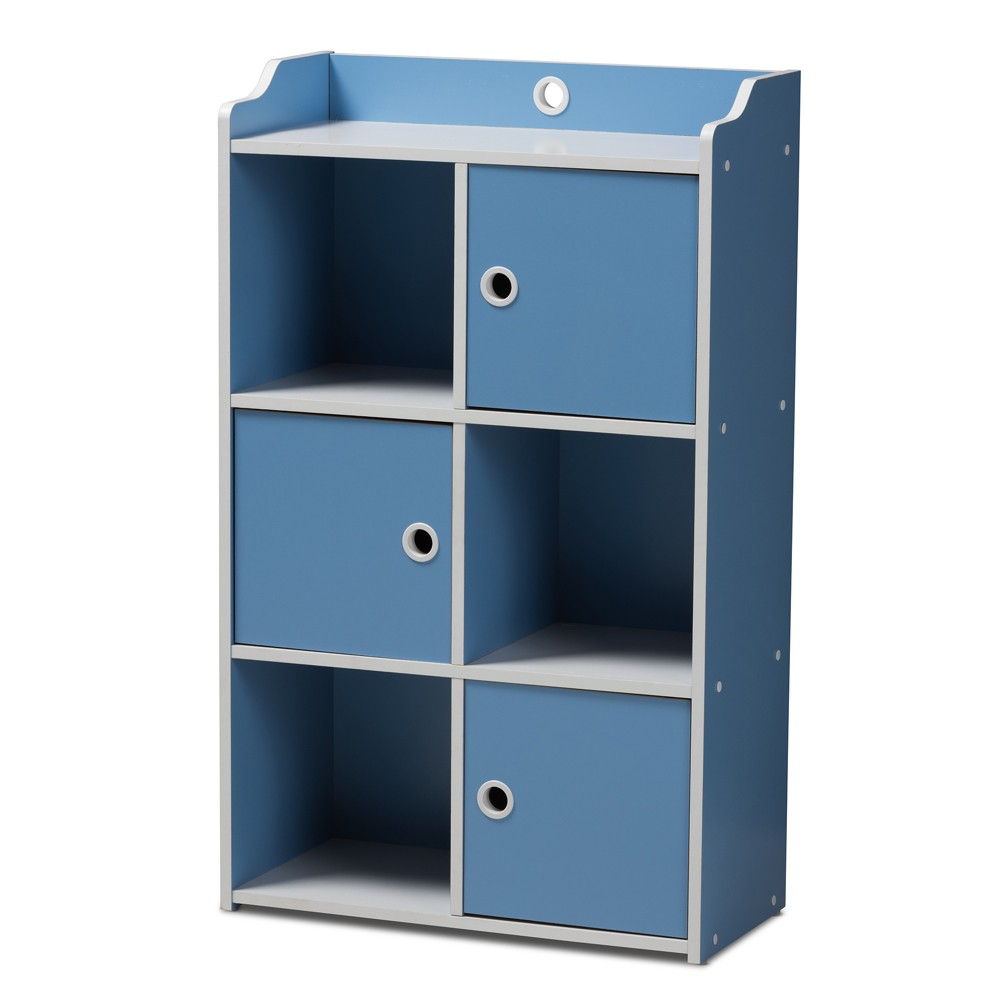 Image of Aeluin Contemporary Children's Finished 3 Door Bookcase Blue/White - Baxton Studio, Blue White