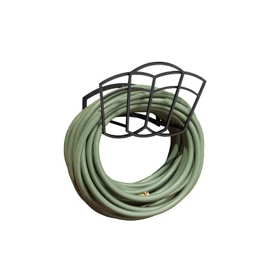 Suncast MHT150 150 Foot 5/8 In Metal Hose Hangout Wall Mount Rust Resistant Outdoor Resin Garden Reel, Black