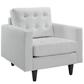 Empress Bonded Leather Armchair White - Modway