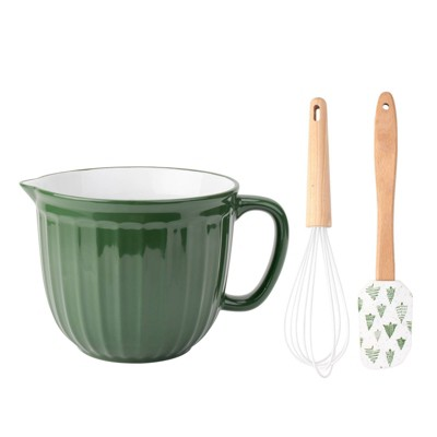 3pc Ceramic Mixing Bowl with Whisk and Spatula Set Green - Cook With Color