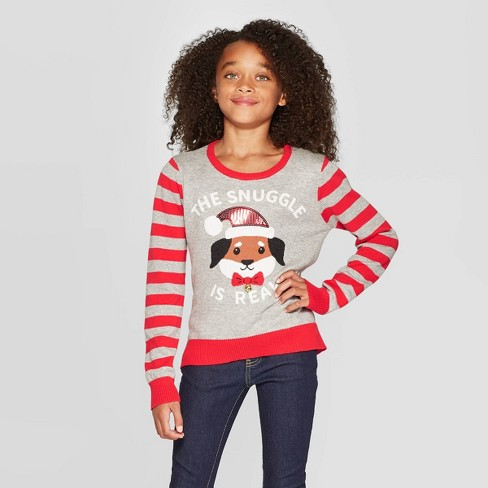 Well Worn Girls' The Snuggle Is Real Ugly Christmas Sweater - Gray - image 1 of 3