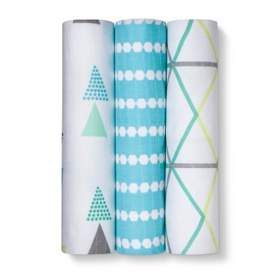 Muslin Swaddle Blanket Geo Bright Boy 3pk - Cloud Island™ Turquoise Lacquer