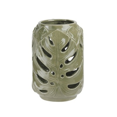 "Diva At Home 7"" Elegant Moss Green Cutout Leaf Ceramic Candle Holder Lantern"