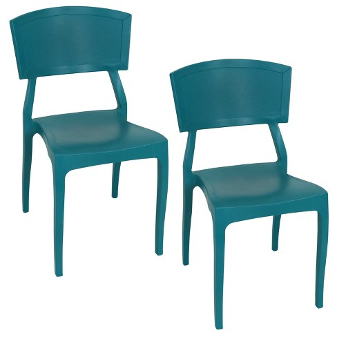 Elmott 2pk Plastic Patio Dining Chair - Dark Green ...