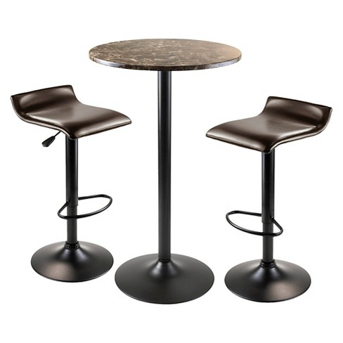 Cora Round Pub Table with 2 Swivel Stools Wood/Black - Winsome - image 1 of 1