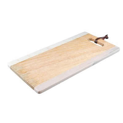 "14.5"" x 8"" Marble and Mango Wood Serving Tray with Handle - Thirstystone"