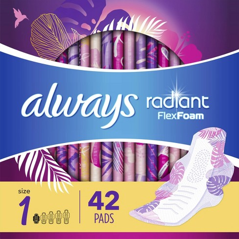Always Radiant FlexFoam Pads for Women Heavy Flow Absorbency with Wings - Size 2 - Scented - 36ct - image 1 of 4