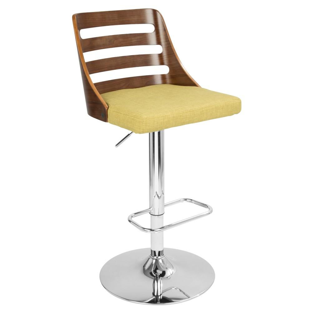 Trevi Mid-Century Modern Adjustable Barstool - Walnut Green - LumiSource