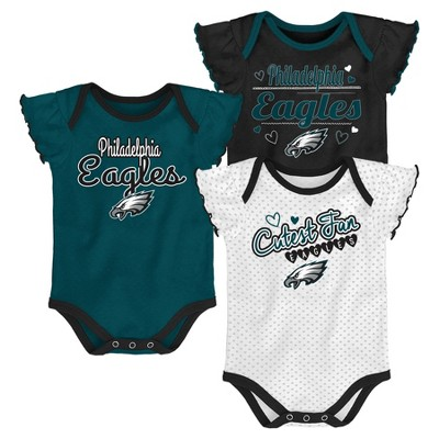 Philadelphia Eagles Girls' Newest Fan 3pk Bodysuit Set 6-9 M