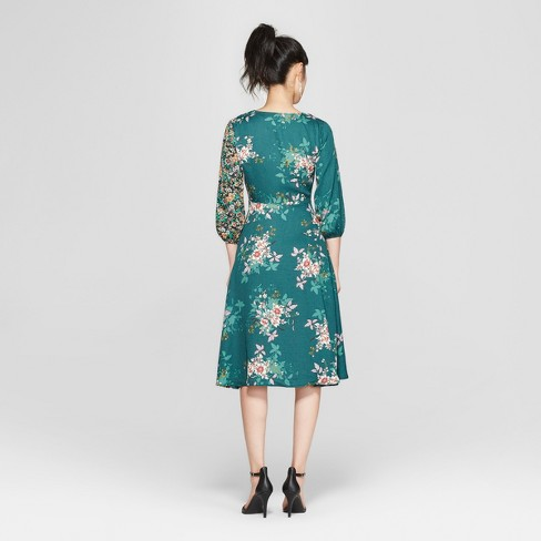 ef5ce6697c25 Women s Floral Print Long Sleeve Midi Dress - 3Hearts (Juniors ) Forest  Green S   Target