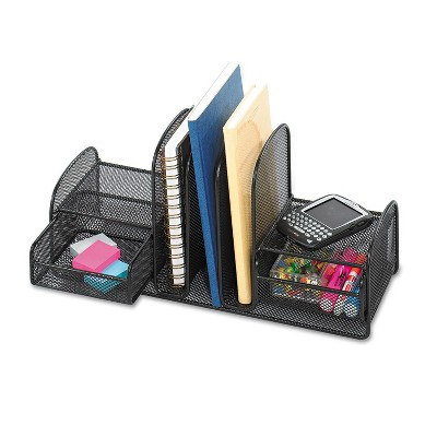 Safco Onyx Mesh Desk Organizer Three Sections/Two Baskets 17 x 6 3/4 x 7 3/4 Black 3263BL