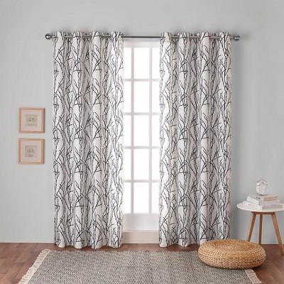 Branches Linen Blend Grommet Top Window Curtain Panel Pair Indigo (54 x84 )- Exclusive Home™