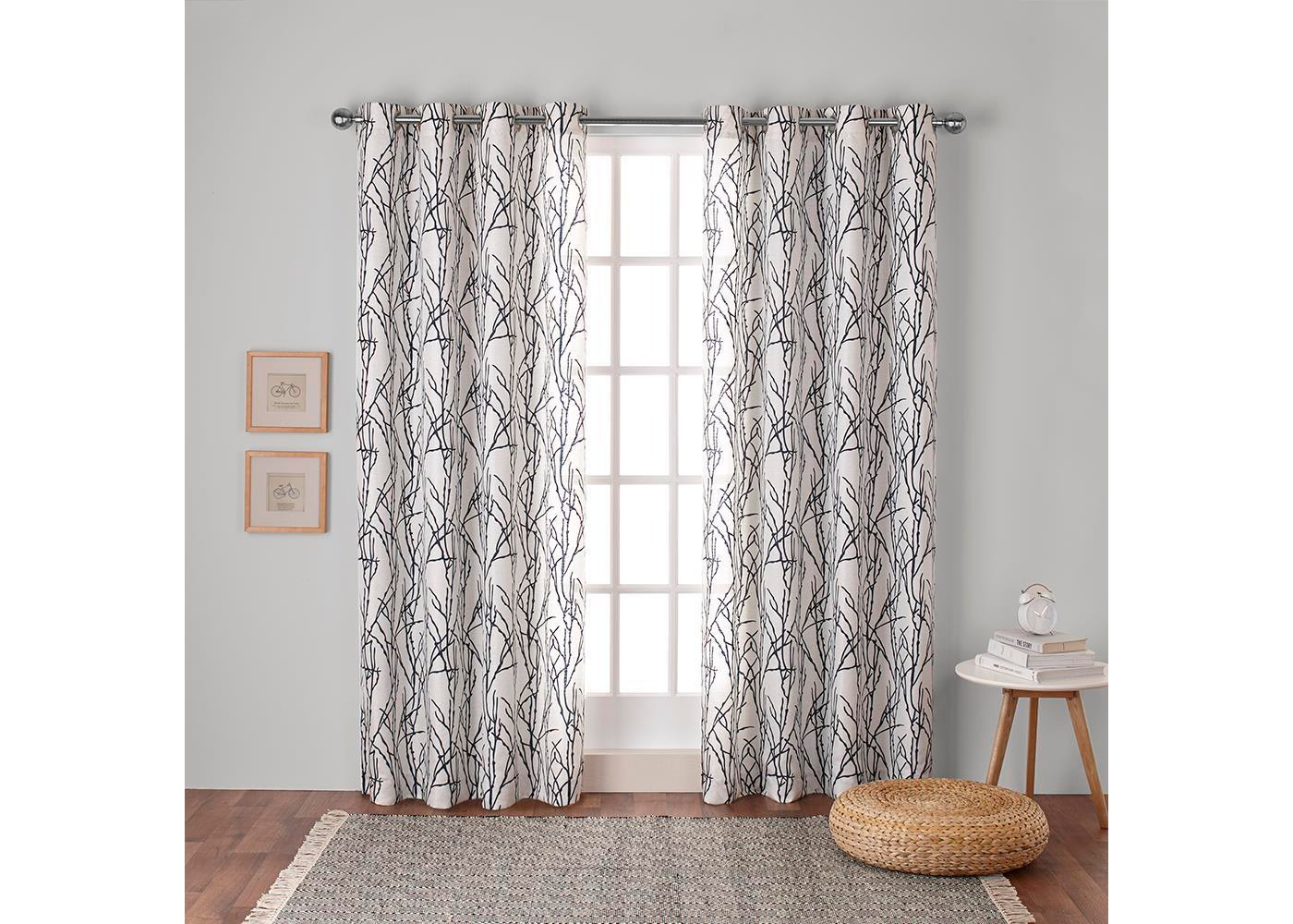 Branches Linen Blend Grommet Top Window Curtain Panel Pair - Exclusive Home™ - image 1 of 5
