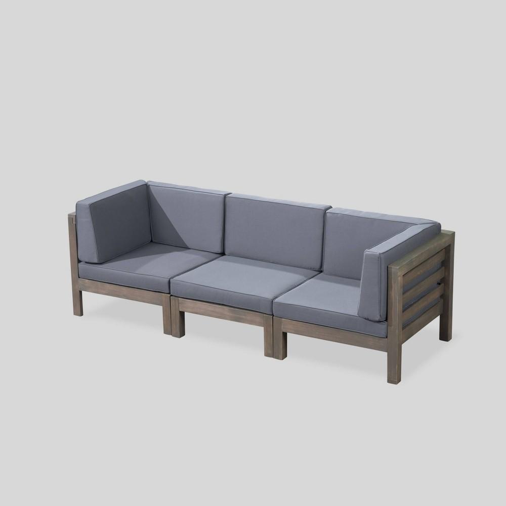 Oana Acacia Wood Modular Sofa Gray/Dark Gray - Christopher Knight Home