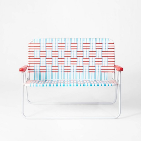 Swell Americana Webstrap 2 Person Portable Loveseat Chair Red White Blue Sun Squad Andrewgaddart Wooden Chair Designs For Living Room Andrewgaddartcom