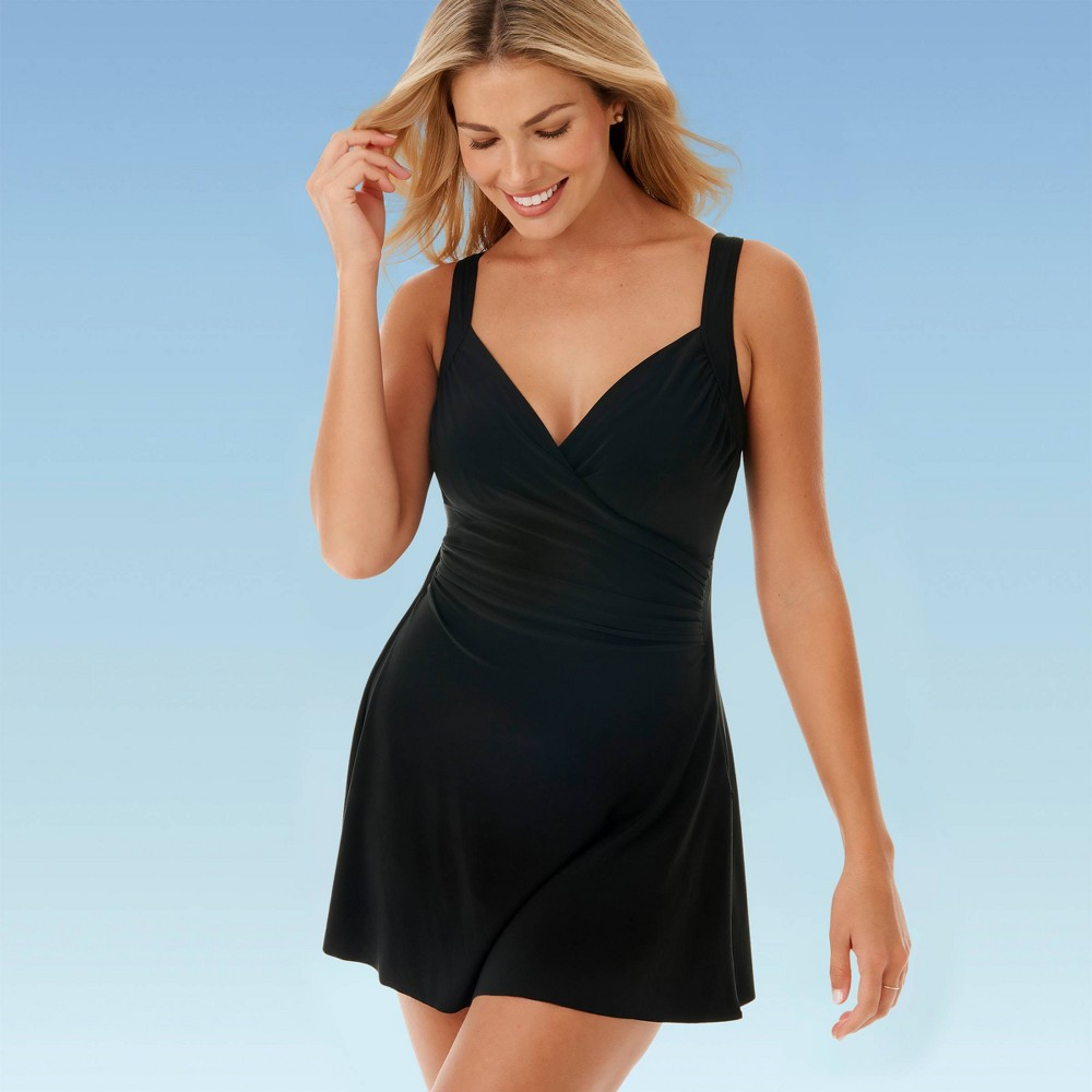 1940s Style Swimsuits Women39s Slimming Control Swim Dress - Dreamsuit By Miracle Brands $64.99 AT vintagedancer.com