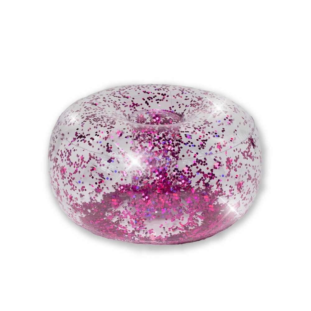Image of Inflatable Glitter Ottoman Pink Glitter - Air Candy